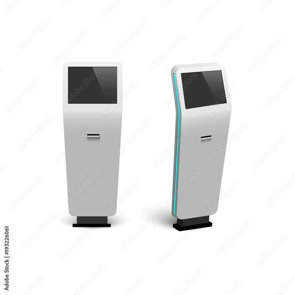 Fototapeta Vector modern digitat interactive information kiosks isolated on white background.