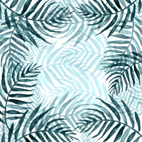 Ingelijste posters Tropische Bladeren Watercolor Palm leaf background. blue on white watercolor hand drawn illustration. blue tropical palm leaf. watercolor watercolor card, postcard, invitation