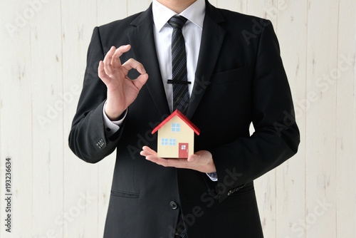 家の模型を持つビジネスマン Canvas Print