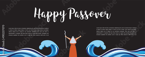 Cuadros en Lienzo Moses separate sea for passover holiday over nigt background, flat design vector