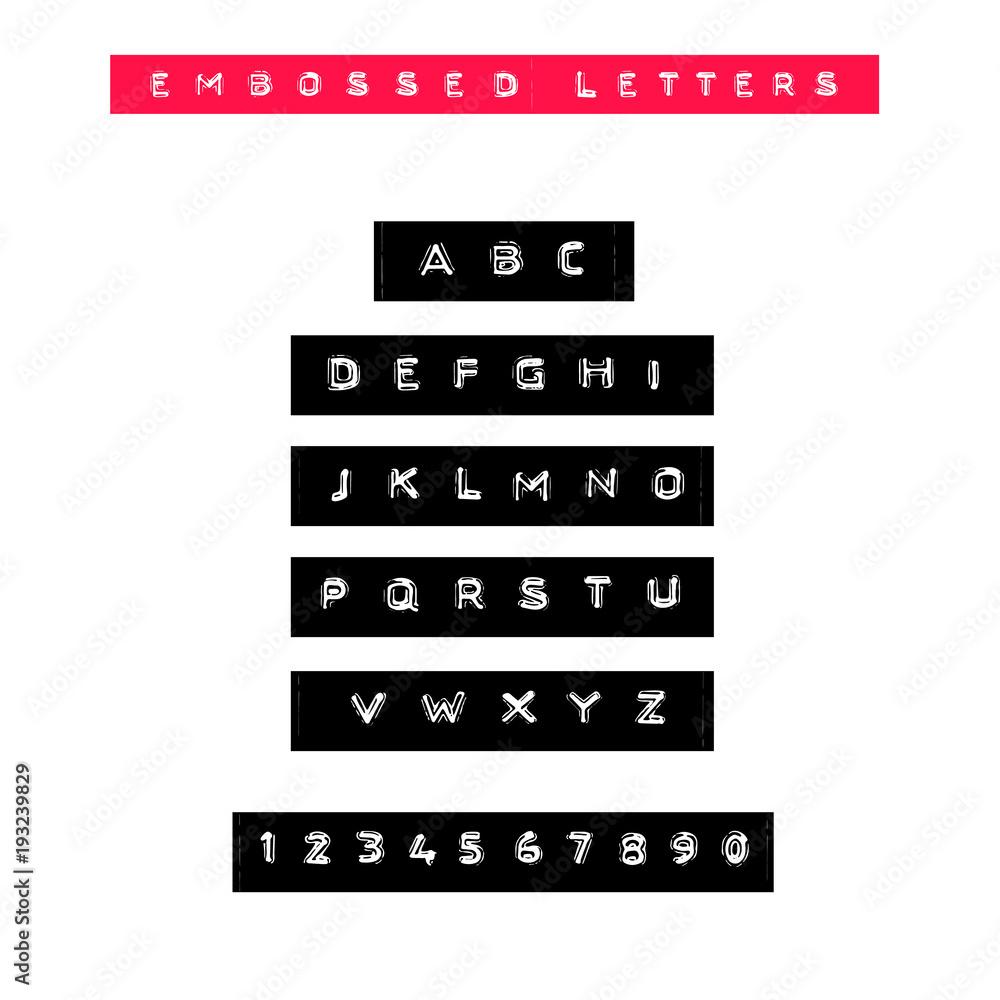 Fényképezés Embossed letters tape font