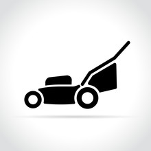 Lawn Mower Icon On White Backg...