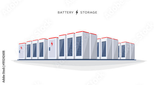 Photo Vector illustration of large rechargeable lithium-ion battery energy storage stationary for renewable electric power stations
