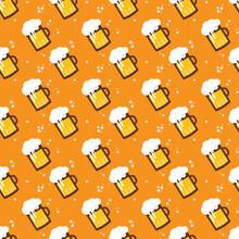 Seamless Beer Pattern. Beer Mugs And Glasses On An Orange Background. St Patricks And Octoberfest Illustration. Vector Illustration