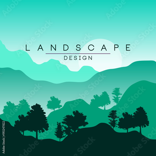 Printed kitchen splashbacks Green coral Beautiful peaceful mountain landscape with forest, nature background in green colors for banner, flyer, poster and cover, vector ilustration