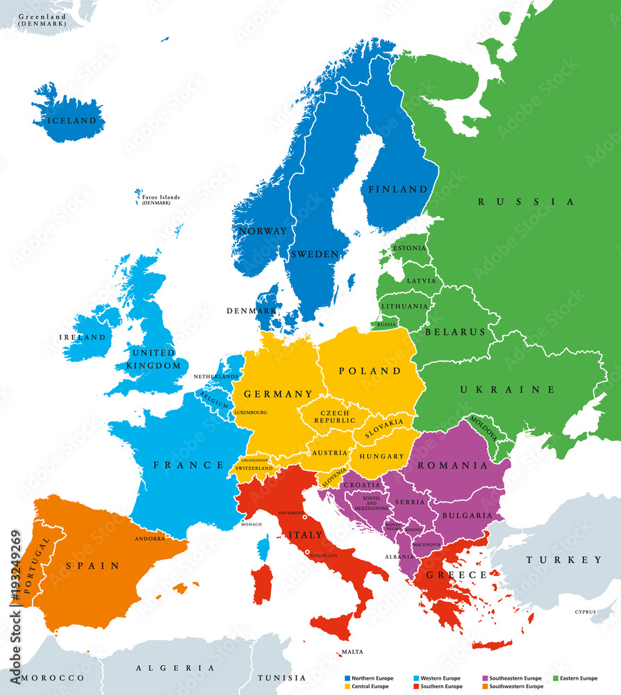 Fototapeta Regions of Europe, political map, with single countries and English labeling. Northern, Western, Southeastern, Eastern, Central, Southern, Southwestern Europe in different colors. Illustration. Vector