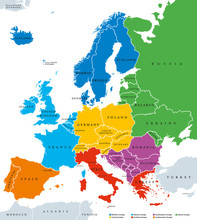 Regions Of Europe, Political Map, With Single Countries And English Labeling. Northern, Western, Southeastern, Eastern, Central, Southern, Southwestern Europe In Different Colors. Illustration. Vector