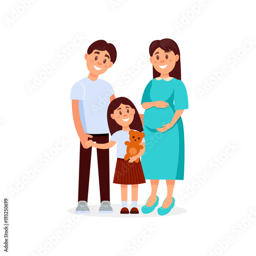 Portrait Of Young Happy Family Father Mother And Daughter Pregnant Woman Cartoon People Expecting Baby Born Little Girl Holding Teddy Bear In Hand Flat Vector Design Buy This Stock Vector And