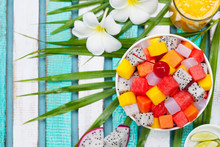 Bowl Of Fresh Exotic Fruit Salad. Healthy Breakfast. Top View. Copy Space.