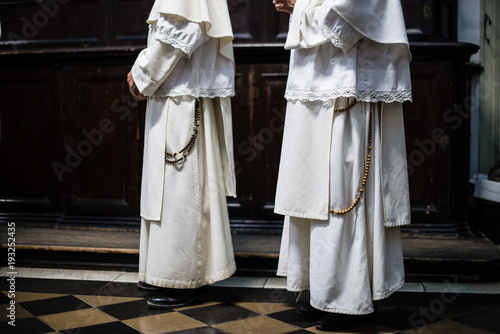 Dominican monks, detail of the monastic habit, monastic order of the Catholic Ch Canvas Print