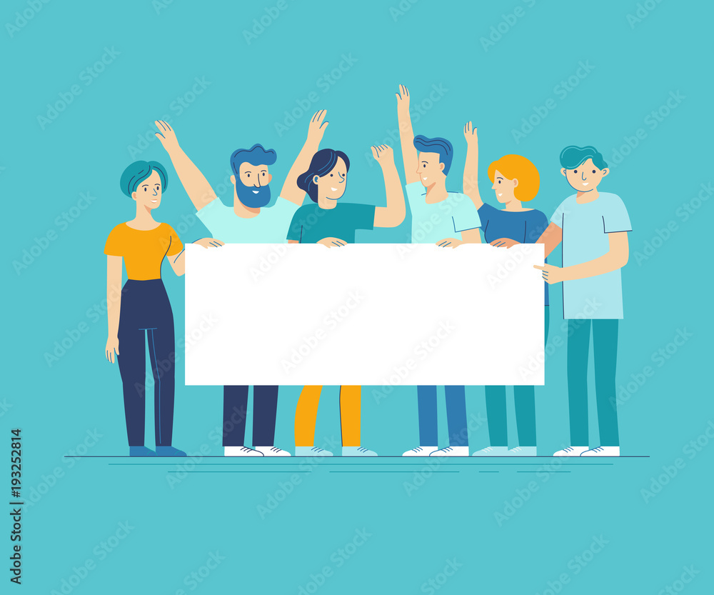 Fototapeta Vector illustration in flat line style - team of happy people holding white placard with copy space for text - announcement banner