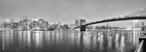 Manhattan at a foggy night, New York City, USA.