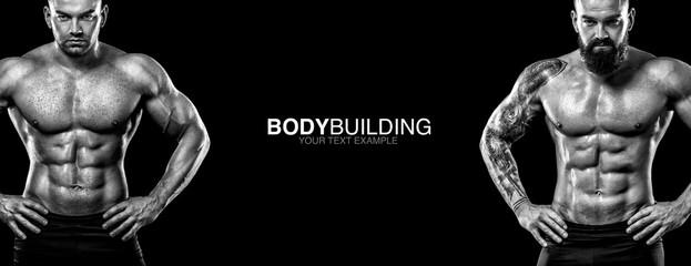 FototapetaSports wallpaper on dark background. Power athletic guy bodybuilder. Sport nutrition banner.