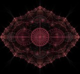 Dark purple fractal mandala on black background - 193263247