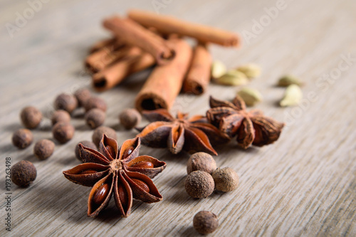Various Spices background Wallpaper Mural