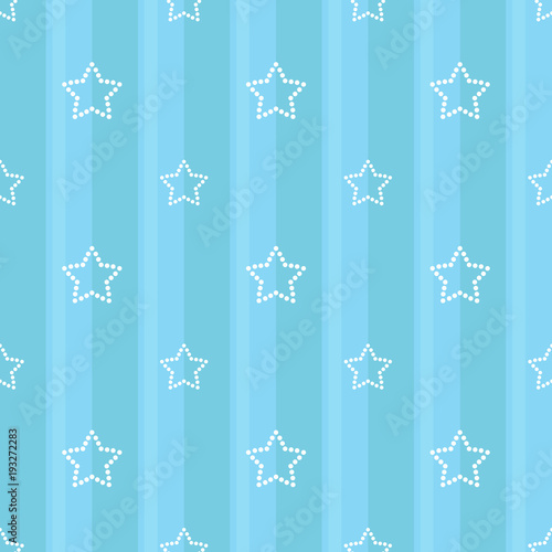 Striped Seamless Blue Pattern With Dotted Stars Children S