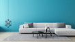 Leinwanddruck Bild Blue wall living room / 3D render interior