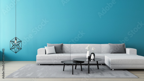 Fotografie, Obraz  Blue wall living room / 3D render interior