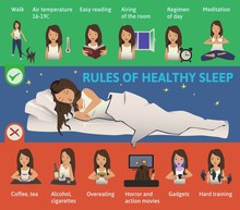 Rules Of Healthy Sleep. Vector...