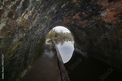 Tuinposter Kanaal Inside the Chirk canal tunnel in North East Wales UK built in 1801