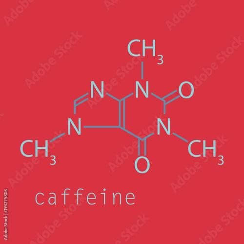 Fotografie, Obraz  Caffeine molecule chemical structure