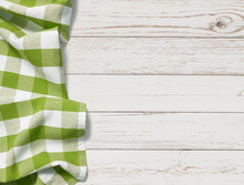 Table With Green Picnic Cloth ...