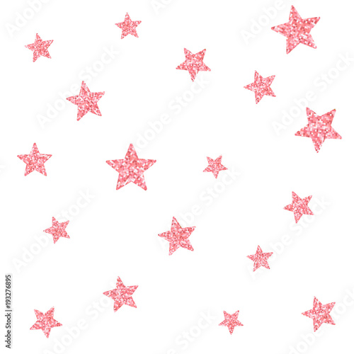 Cotton fabric Vector seamless pattern with pink glitter textured stars