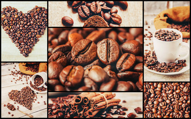 Fototapeta Kawa collage many pictures of coffee.