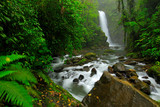 La Paz Waterfall Gardens, with green tropical forest, Central Valley, Costa Rica. Traveling Costa Rica. Holiday in tropic forest.  River with white stream, rainy day, green vegetation, national park.
