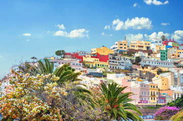 Cityscape with colorful houses in residential district of Las Palmas. Gran Canaria, Spain