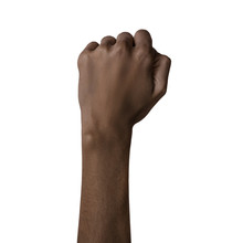 African American Black Hand Gesture Fist Isolated On White Background