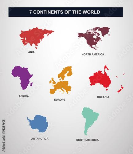 Obraz na plátně  7 continents en vecteur