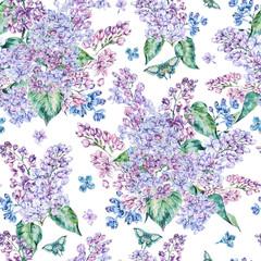Fototapeta Inspiracje na wiosnę Watercolor spring lilac seamless pattern