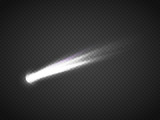 Vector comet with large dust. Falling Star. Glow light effect.