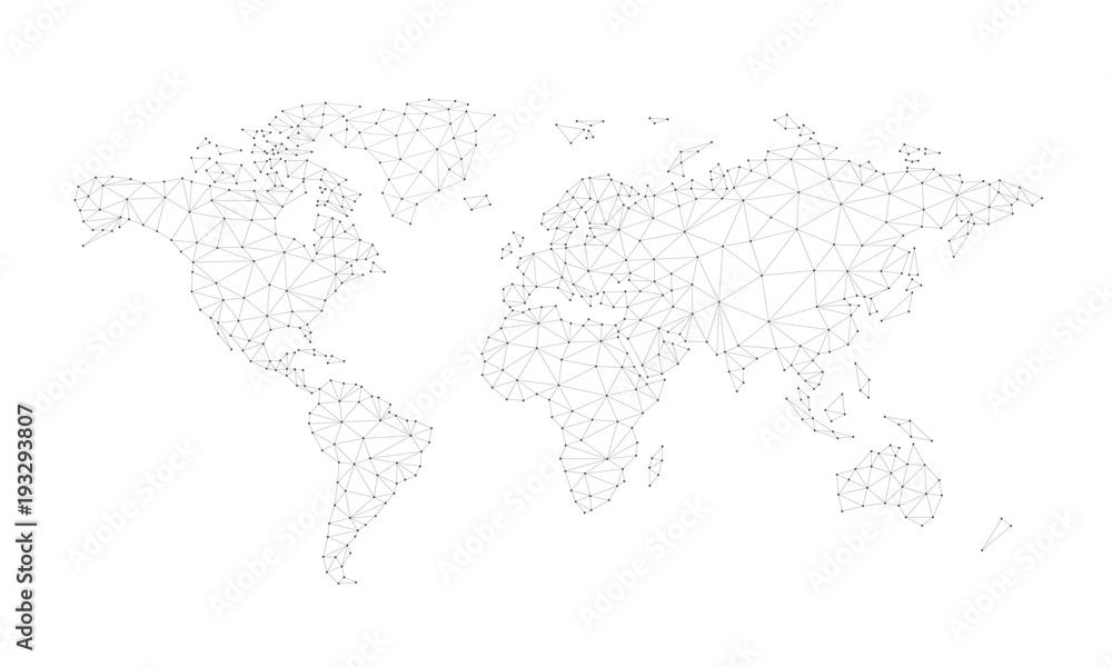 Obraz Blockchain technology network polygon world map isolated on white background. Network, fintech business, e-commerce, bitcoin trading and global cryptocurrency blockchain business banner concept vector fototapeta, plakat