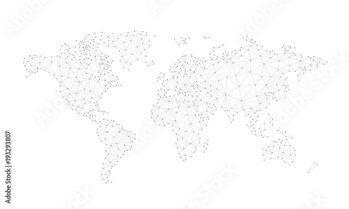 Obraz Blockchain technology network polygon world map isolated on white background. Network, fintech business, e-commerce, bitcoin trading and global cryptocurrency blockchain business banner concept vector - fototapety do salonu