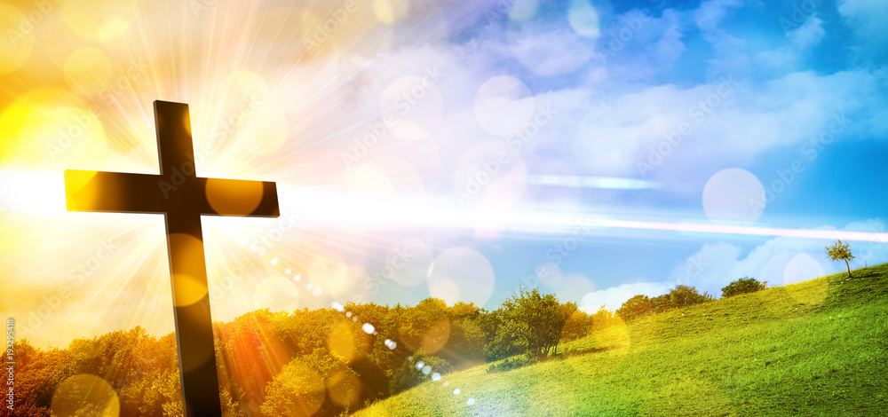 Fototapety, obrazy: Religious representation with cross and nature landscape background