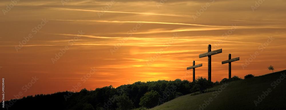 Fototapeta Religious representation with three crosses and nature landscape background