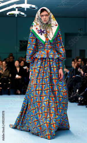643f7f184f83d A model presents a creation from the Gucci Autumn Winter 2018 women  collection during Milan