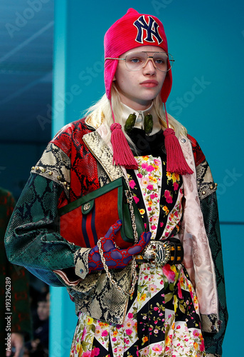 577f6792e Model presents a creation from the Gucci Autumn/Winter 2018 women collection  during Milan Fashion Week in Milan