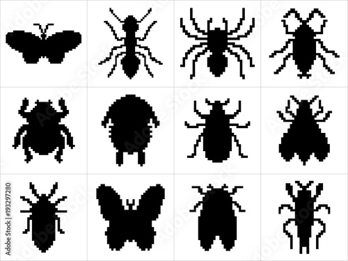 Photo sur Toile Papillons dans Grunge Set of large and detailed icon set of pixel art insects