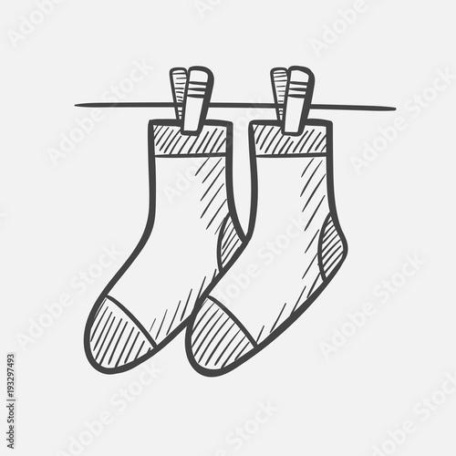 Vector Hand Drawn Socks Hanging On The Clothesline Outline Doodle