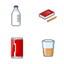 Icons Drink And Book Pixel Art
