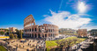 The Roman Colosseum (Coloseum) in Rome, Italy wide panoramic view