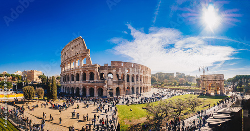 The Roman Colosseum (Coloseum) in Rome, Italy wide panoramic view Canvas Print