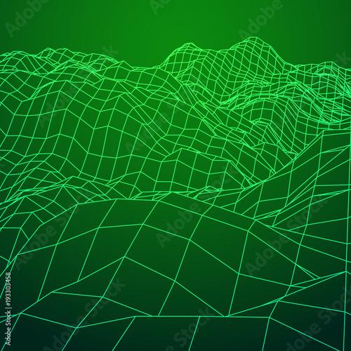 Foto op Plexiglas Groene Wireframe terrain vector background. Cyberspace landscape grid technology illustration