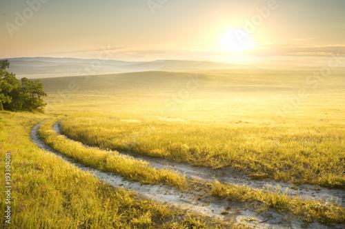 Foto auf Gartenposter Hugel Lane in meadow and sunrise.
