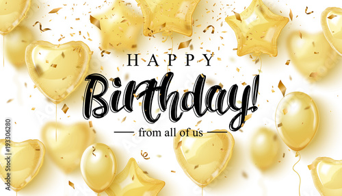 Photo  Vector birthday elegant greeting card with gold balloons and falling confetti