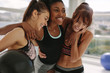 canvas print picture - Smiling multi-ethnic female in gym after workout