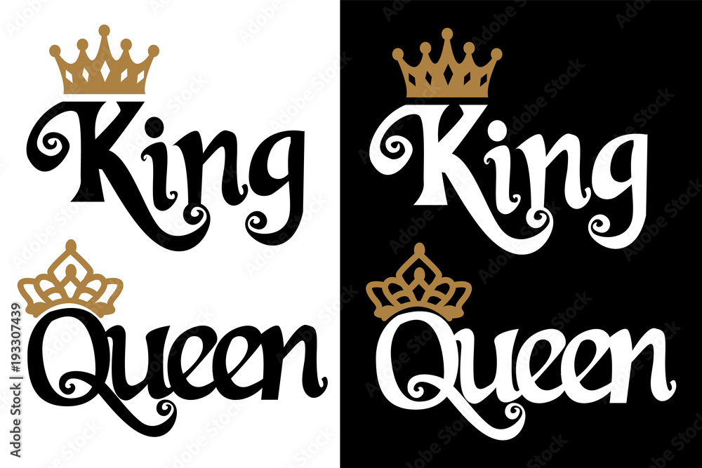 Fototapeta King and queen - couple design. Black text and gold crown isolated on white background. Can be used for printable souvenirs ( t-shirt, pillow, magnet, mug, cup). Icon of wedding invitation.Royal love